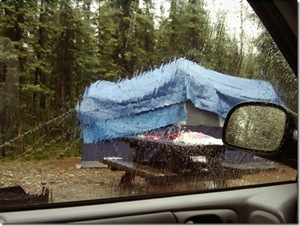 Wet tent at camping trip