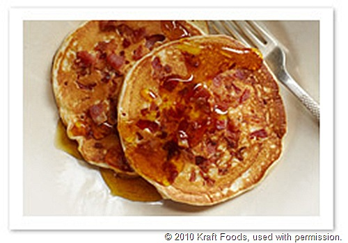 Bacon Pancakes with Warm Orange Maple Syrup Recipe