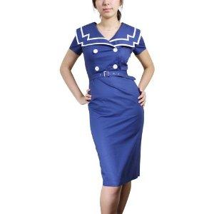 Sailor Vintage Pin up Pencil Skirt Dress 8