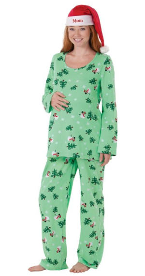Let it snow man maternity jammies