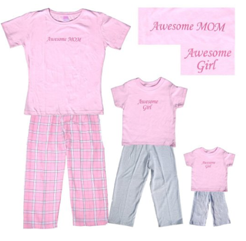 Awesome Girl and Awesome Mom Matching Pajamas at Amazon