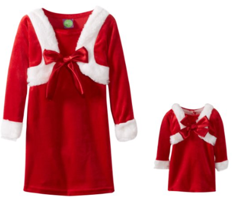 Dollie and Me Matching Girls and Dolls Santa Dresses at Amazon