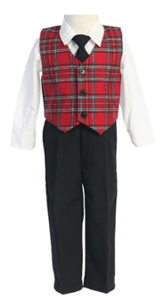 Matching Red and Green Plaid Suits and Dresses for Brothers and Sisters