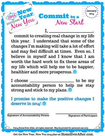 New Year, New You 2014: Commit to a New Start Printable Letter