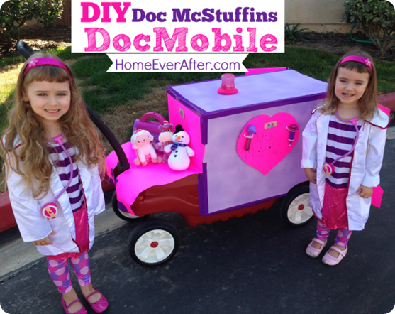 DIY Doc McStuffins DocMobile Cover. Halloween ...  sc 1 st  Home Ever After & DIY Doc McStuffins DocMobile out of a Red Wagon to Go With Halloween ...