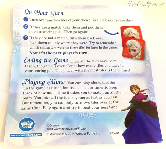 Disney Frozen Matching Game instructions directions