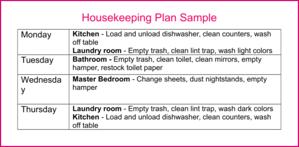 how to set up a housekeeping plan